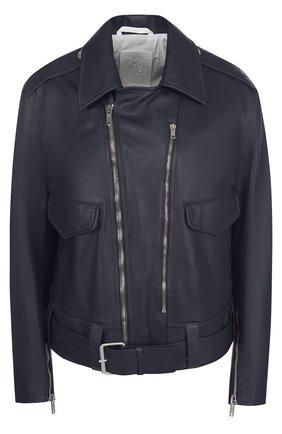 Однотонная кожаная куртка с косой молнией | Фото №1