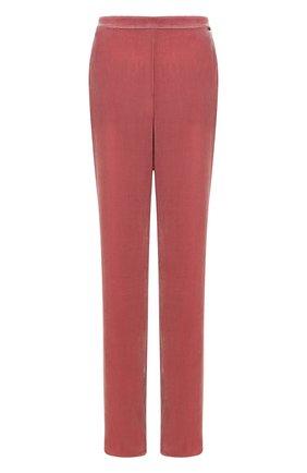 Однотонные бархатные брюки с эластичным поясом | Фото №1