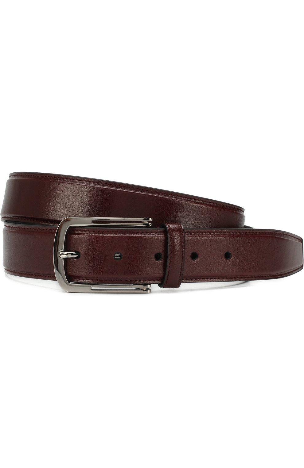 Мужской кожаный ремень с металлической пряжкой BRIONI бордового цвета, арт. 0BV50L/06763 | Фото 1