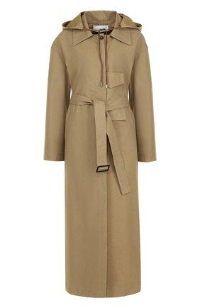 Однотонное хлопковое пальто с поясом и капюшоном Walk of Shame бежевого цвета | Фото №1