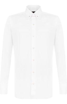 Мужская хлопковая сорочка с воротником на булавке TOM FORD белого цвета, арт. 3FT000/94S3JA | Фото 1