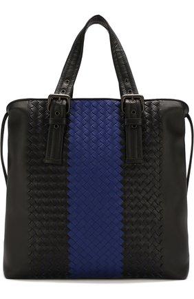 Мужская кожаная сумка-тоут с плетением intrecciato BOTTEGA VENETA синего цвета, арт. 472553/VCL21 | Фото 1