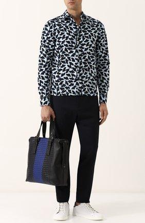 Мужская кожаная сумка-тоут с плетением intrecciato BOTTEGA VENETA синего цвета, арт. 472553/VCL21 | Фото 2