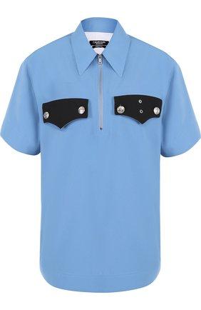Блуза с коротким рукавом и контрастной отделкой | Фото №1
