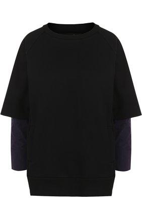 Хлопковый свитшот с круглым вырезом Yohji Yamamoto черный   Фото №1