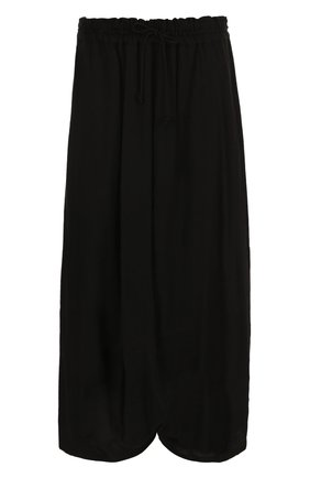 Однотонная юбка-миди с эластичным поясом Yohji Yamamoto черная   Фото №1