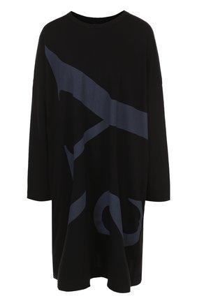 Хлопковое мини-платье свободного кроя Yohji Yamamoto черное   Фото №1