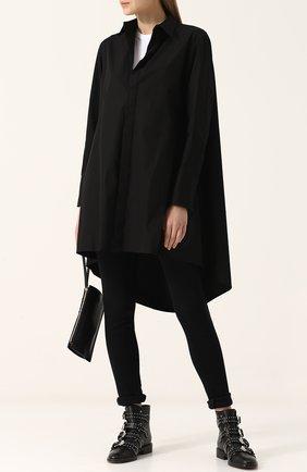 Женская однотонная хлопковая блуза свободного кроя Yohji Yamamoto, цвет черный, арт. FE-B52-001 в ЦУМ   Фото №1