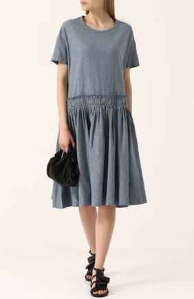 Платье свободного кроя из смеси льна и хлопка Yohji Yamamoto голубое   Фото №1