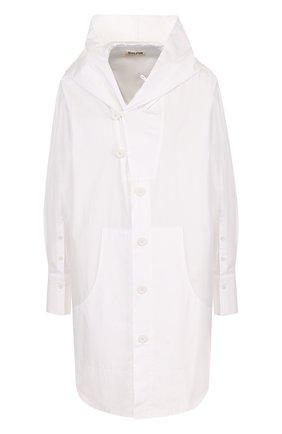 Женская однотонная хлопковая блуза с капюшоном Yohji Yamamoto, цвет белый, арт. FE-B53-001 в ЦУМ   Фото №1