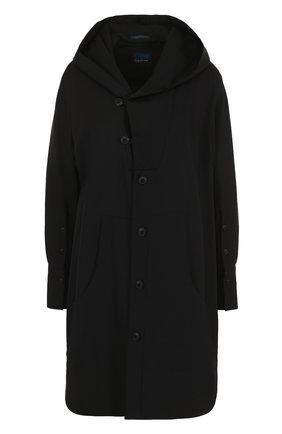 Женская однотонная шерстяная блуза с капюшоном Yohji Yamamoto, цвет черный, арт. FE-B53-100 в ЦУМ   Фото №1