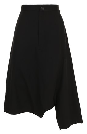 Укороченные шерстяные брюки Yohji Yamamoto черные   Фото №1