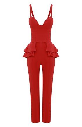 Однотонный приталенный комбинезон с оборками Elie Saab красный | Фото №1