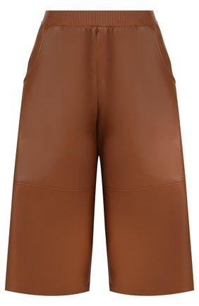 Укороченные кожаные брюки с карманами | Фото №1