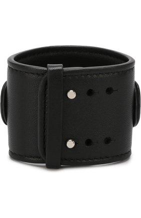 Кожаный браслет с отделкой из камней GFase черный | Фото №1