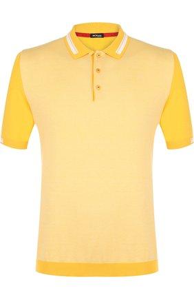 Мужское хлопковое поло с короткими рукавами KITON желтого цвета, арт. UK711E18V75000 | Фото 1
