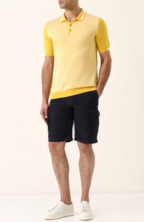Мужское хлопковое поло с короткими рукавами KITON желтого цвета, арт. UK711E18V75000 | Фото 2