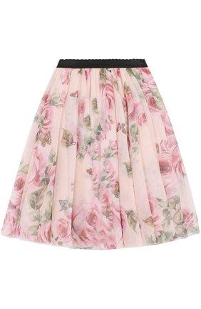 Многослойная юбка с принтом и эластичным поясом | Фото №1