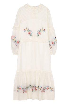 Приталенное платье-миди из смеси хлопка и шелка | Фото №1