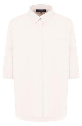 Хлопковая блуза свободного кроя с укороченным рукавом | Фото №1