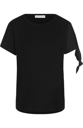 Однотонная хлопковая футболка с круглым вырезом J.W. Anderson черная   Фото №1