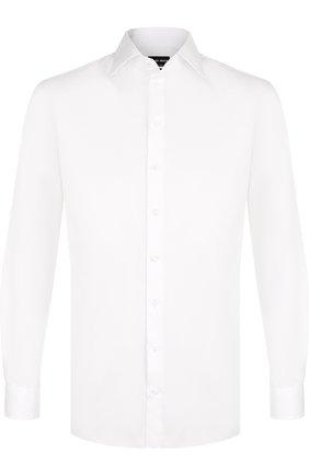 Мужская хлопковая сорочка с воротником кент GIORGIO ARMANI белого цвета, арт. WSCMRT/WS10C | Фото 1