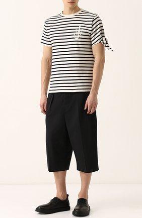 Хлопковая футболка в контрастную полоску J.W. Anderson белая   Фото №1