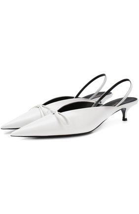 Кожаные туфли Knife на каблуке kitten heel | Фото №1