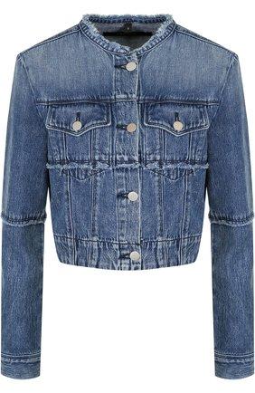 Укороченная джинсовая куртка с потертостями   Фото №1