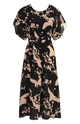 Приталенное шелковое платье-миди с принтом