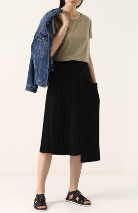 Однотонная шерстяная юбка-миди Yohji Yamamoto черная   Фото №1