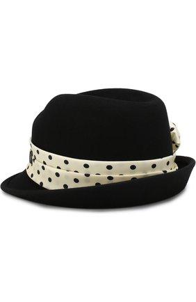 Фетровая шляпа Virginie Up с лентой в горох Maison Michel черного цвета | Фото №1