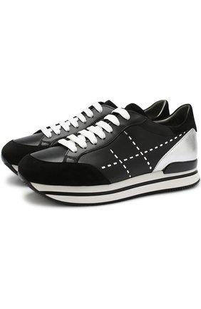 Комбинированные кроссовки с перфорацией на шнуровке Hogan черные | Фото №1