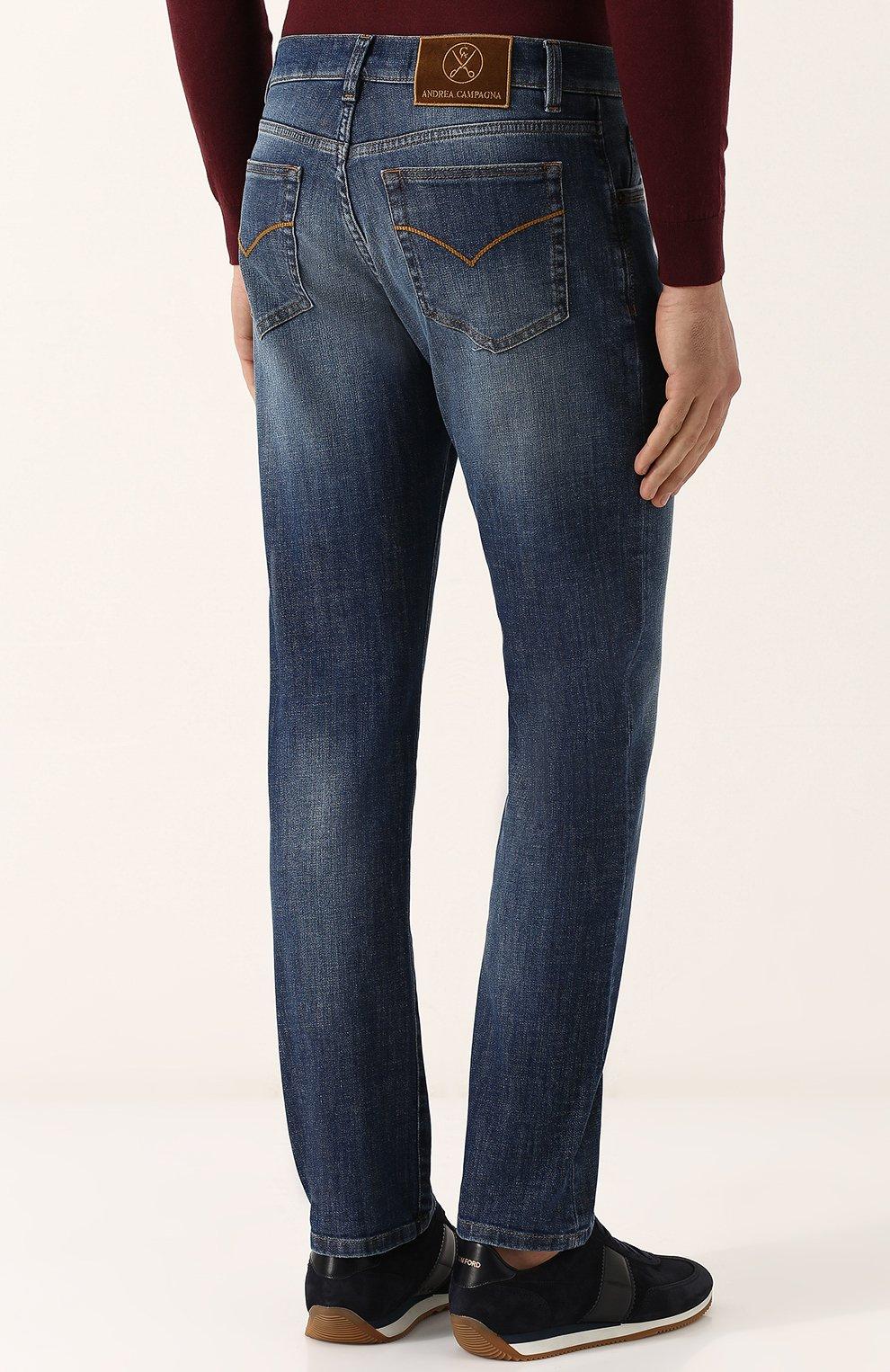 Мужские джинсы прямого кроя ANDREA CAMPAGNA синего цвета, арт. ACCR284444 | Фото 4