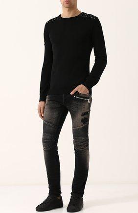 Кожаные кеды на шнуровке с тиснением Hide&Jack черные | Фото №1