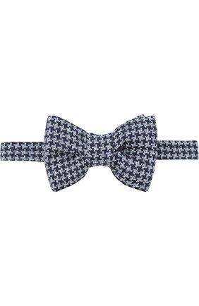 Мужской галстук-бабочка из смеси шелка и льна TOM FORD синего цвета, арт. 3TF66/4CH | Фото 1