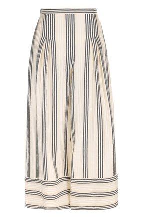 Укороченные брюки из смеси льна и хлопка с шелком | Фото №1