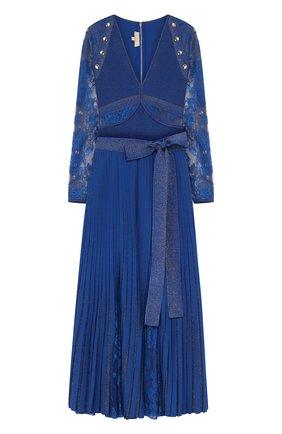 Вязаный комплект из боди и плиссированной юбки Elie Saab синее | Фото №1