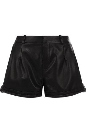 Однотонные кожаные мини-шорты   Фото №1