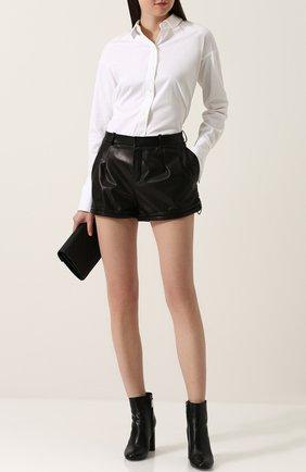 Однотонные кожаные мини-шорты   Фото №2