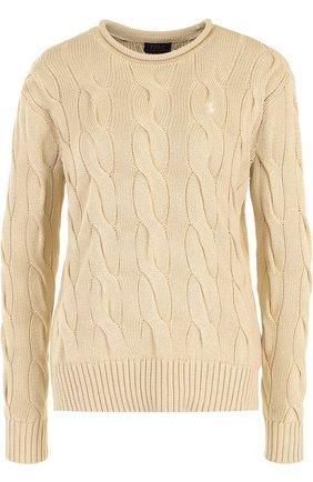 Пуловер фактурной вязки с логотипом бренда | Фото №1