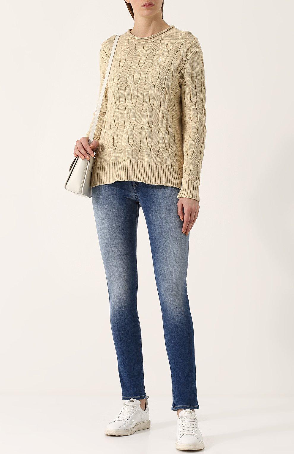 Пуловер фактурной вязки с логотипом бренда | Фото №2