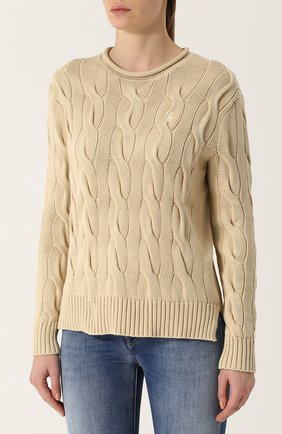 Пуловер фактурной вязки с логотипом бренда | Фото №3