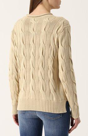 Пуловер фактурной вязки с логотипом бренда | Фото №4