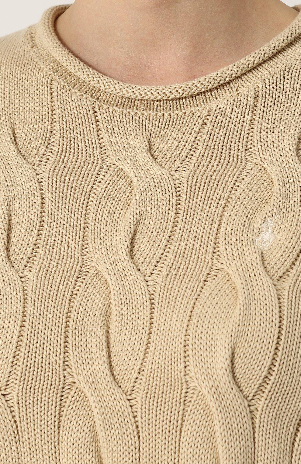 Пуловер фактурной вязки с логотипом бренда | Фото №5