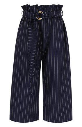 Укороченные брюки в полоску с поясом | Фото №1