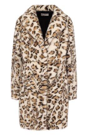 Шуба прямого кроя из меха норки с леопардовым принтом Mate Official леопардовая | Фото №1