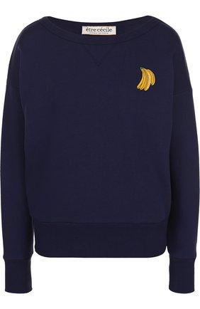 Хлопковый пуловер с круглым вырезом и контрастной отделкой | Фото №1