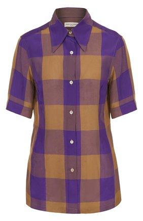 Приталенная блуза в клетку с укороченным рукавом | Фото №1