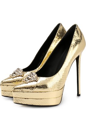 Туфли Palazzo из кожи змеи на шпильке | Фото №1